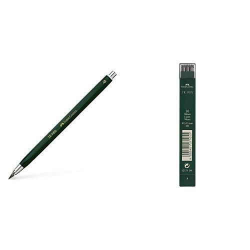 Faber-Castell 139404 - Fallminenstift TK 9400, Minenstärke: 3,15 mm, Härtegrad: 4B, Schaftfarbe: grün & Faber-Castell 127104-10 Fallminen TK 9071, Minenstärke 3.15 mm, Härtegrad 4B