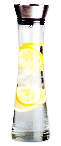 Worldconnection Edle Wasserkaraffe 1,2l mit Reinigungsbürste Karaffe Saftkrug Krug aus Glas mit Ausgiesser und Sieb 1L (ohne Spülbürste)