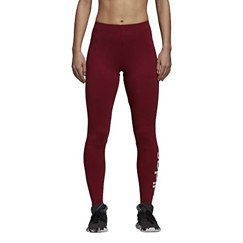 adidas Damen Athletics Essentials 3-Stripes Tights, Damen, Women's Athletics Essential Linear Tights, Noble Maroon/White, XX-Large -