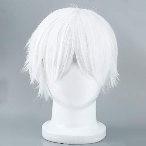 Candybarbar Männliche weiße synthetische Perücke für Cosplaying Anime Charaktere gerade Kurze Hochtemperaturseidenhaar für Cosplay - Männliche Kostüm Perücken