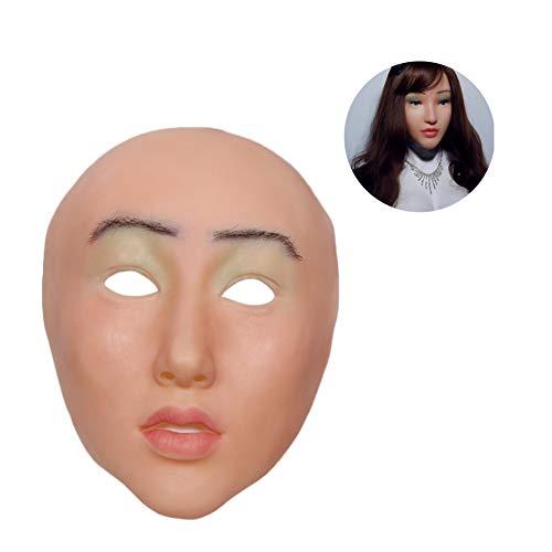 WANGXN Weibliche Gesichtsmaske RealisticAngel Face Cosplay Männlich zu Weiblich für Halloween Weihnachten Pretty (Weibliche Halloween Kostüm Diy)