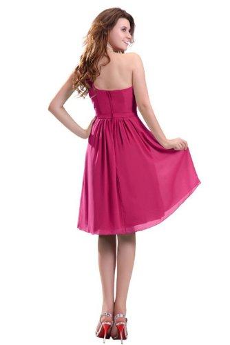 Lemandy robe de soirée mousseline longueur genou épaule asymétrique Fuchsia