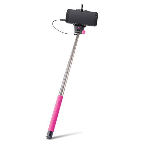 Universale Selfie Stick asta Pink con specchio cavo legato (senza Bluetooth) circa 100cm di lunghezza adatto per tutti i telefoni cellulari, come Samsung Galaxy, iPhone, Huawei, LG