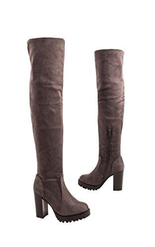 Elara Damen Stiefel | Bequeme Overknee High Heels | Blockabsatz Wildlederoptik| chunkyrayan Grau