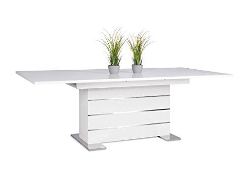 Säulentisch Mannheim weiß 160(200)x90 cm Auszugstisch Esstisch Esszimmertisch Eckbanktisch Küchentisch Tisch Esszimmer