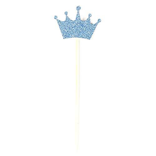 e 50 Stück Cupcake-Topper Gold Glitzer Krone Kuchen Topper First Birthday Baby Shower Decor Royal Prince Party für Zuhause Dekoration - blau ()