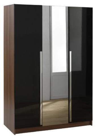 LAS VEGAS HIGH GLOSS BLACK 3 DR WARDROBE