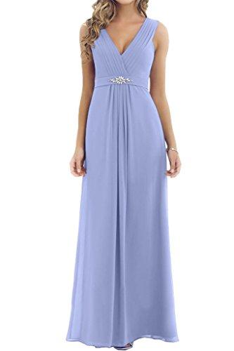 Gorgeous Bride Schlicht V-Ausschnitt Traegerlos Chiffon Lang Abendkleider Cocktailkleid Ballkleider Lavendel