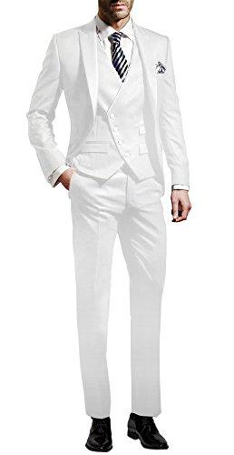 Prom Kostüm 80 Männer - Suit Me Herren 3-Teilig Anzug Slim Fit Hochzeiten Party Smoking Anzuege Sakko,Weste,Hose Weiss M