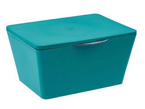 Wenko 22601100 Aufbewahrungsbox mit Deckel Brasil Aufbewahrungskorb, Badkorb mit Deckel, 15,5cm x 19cm x 10cm, petrol