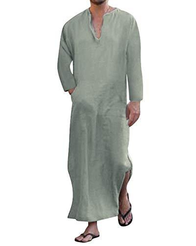 Jacansi Herren Thobe Saudi Arabische Kaftan Roben Muslim Dubai Indien Türkisch Lange Bluse Tops Grün DE 38 - Lange Robe