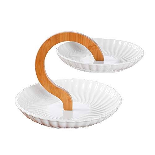 GYJ Keramik-Tablett/Keramik-Käse & Snack-Platte einzigartige Cupcake Runde für Cupcakes Obst Dessert oder Tee Kuchen Pop und Buffet-Server mit Candy Dish