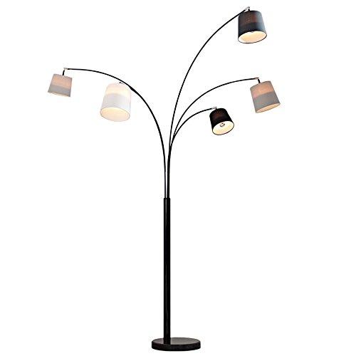 Design Bogenlampe LEVELS schwarz glänzend Marmorfuß Stehleuchte Leuchte Lampe Wohnzimmerlampe -