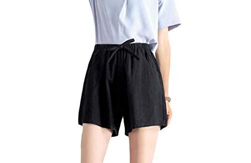 CuteRose Women's Pure Colour Elastic Waist Summer Wide Leg Slim Casual Short Black M Slim Leg Maternity Legging