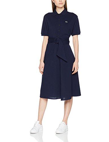 Lacoste Damen Kleid Ef3089 Midi Einfarbig, Blau (Marine 166), 42 (Herstellergröße: 42)