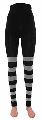 Ringel-Leggings Bio Baumwolle, Farben alle:schwarz-graumeliert geringelt;Größe:36/38