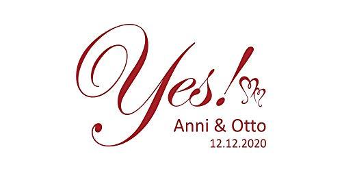 Wandtattoo Hochzeit Yes mit Vornamen und Datum 4