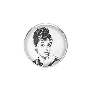 Edelstahl Brosche, Durchmesser 25mm, Stift 0,7mm, handgemachte Illustration Audrey Hepburn 3