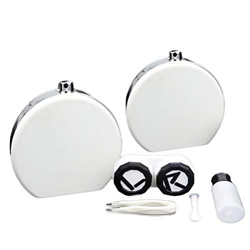 Healifty Portable Kontaktlinsenbehälter Behälter mit Spiegel Pinzette Applikator und Lösung Flasche Kontaktlinsen Zubehör für Reise Zuhause (weiß)