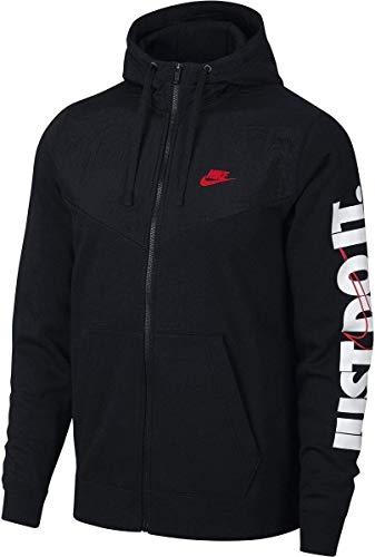 Nike Herren Full-Zip Hbr+ Kapuzenjacke, Schwarz (Black/University Red 010), Gr. S Fleece Running Sweatshirt
