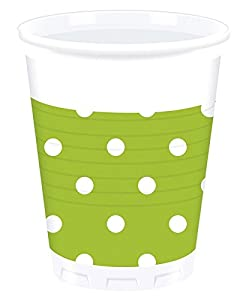 Procos - Vasos de plástico Green Dots, 200 ml, multicolor, PR80900