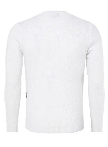 Carisma Herren Strickpullover KAROL Meliert mit Schnürung am Hals und Logo Patch seitlich Weiß