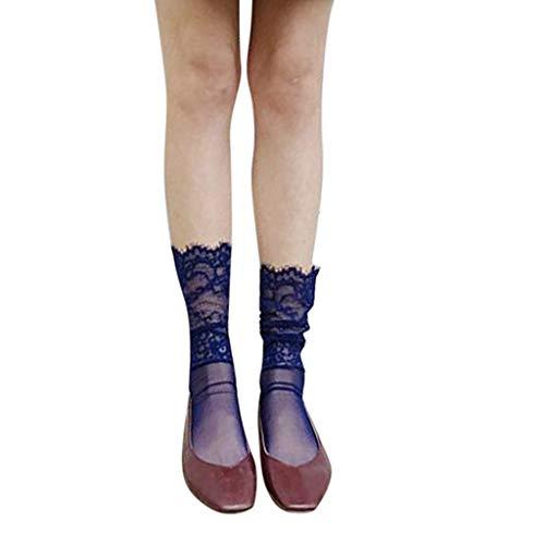 MOIKA Women's Lace Ankle Socks Mädchen einfarbig Socken Mode süß mit Nicht-Hollow Out Zehenspitzen Design -