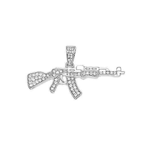 Aoligei Hip Hop Anhänger Halskette Pistole Diamond Mini Tom Pistole ASG Gewehr Anhänger Super Persönlichkeit Schmuck