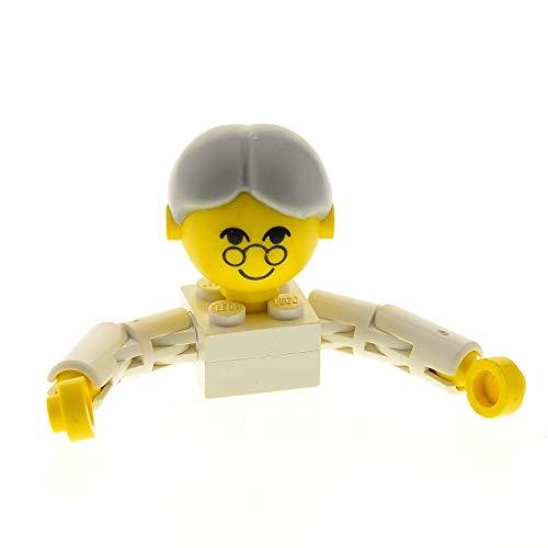 Bausteine gebraucht 1 x Lego System Homemaker Großkopf Figur Frau Mutter Oma Großmutter Torso Weiss Gesicht mit Brille Arme lang Haare grau Zopf 1075 x197bun 685px2c01