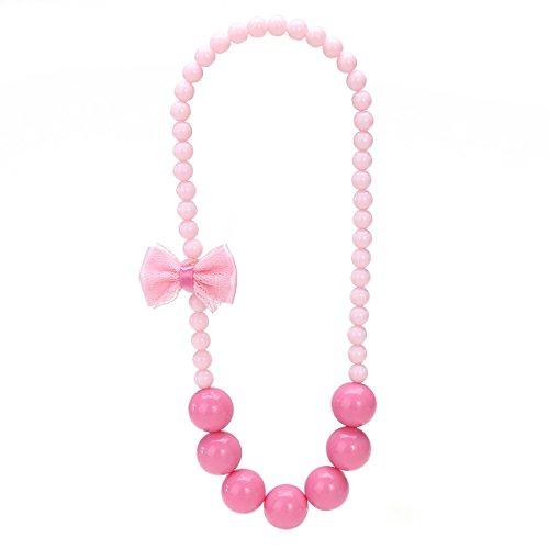 Tinksky Mädchen Perlen simuliert Halskette Bowknot Perle Halskette für Kinder Schmuck Charm Armband Perlen Halskette Kleinkind dress up (rosa)