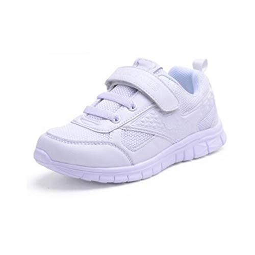 Scarpe Sportive per Bambini Moda Confortevole Scarpe Sportive Gioventù in Pelle Piatta Ragazzi e Ragazze Bianche Scarpe da Corsa Leggere Traspiranti