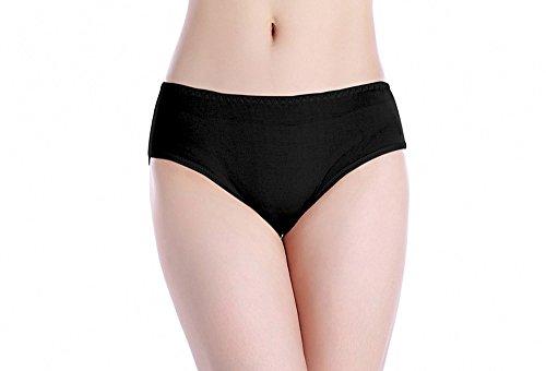 Sisann Damen Niedrig-Taille Unterwäsche 100% Seide Slip Schwarz