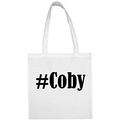 Tasche #Coby Größe 38x42 Farbe Weiss Druck Schwarz Coby 19