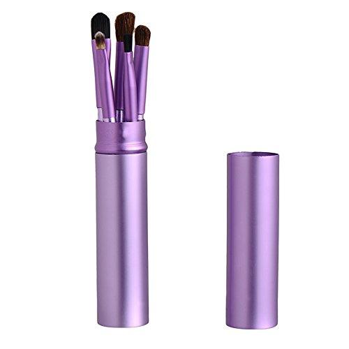 LianLe®5Pcs Kit de Pinceaux Maquillage Pinceaux Fard à Paupières Manche En Bois Kit Outil de Maquillage pour Les yeux avec Tube Rond