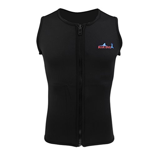 Baoblaze Herren Neopren Shirt Ärmellos Neoprenanzug Weste Vest Tauchanzug Schwimmanzug Surfanzug - M