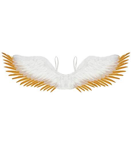 Matrodo- Weisse Engelsflügel mit goldfarbenen Spitzen Flügel Gold Engel/ Angel/ Christkind/ Weihnachten/ Krippenspiel/ Theater/ Engelkostüm/ Motto/ Kirche ()