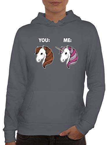 Einhorn Pferde Geschenk Damen Hoodie Frauen Kapuzenpullover Unicorn - Difference Between You and Me, Größe: L,Grau