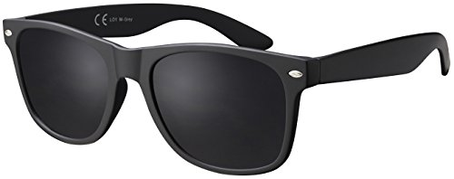 Sonnenbrille La Optica UV 400 CAT 3 CE Damen Herren Nerd - Einzelpack Matt Schwarz (Gläser: Grau)