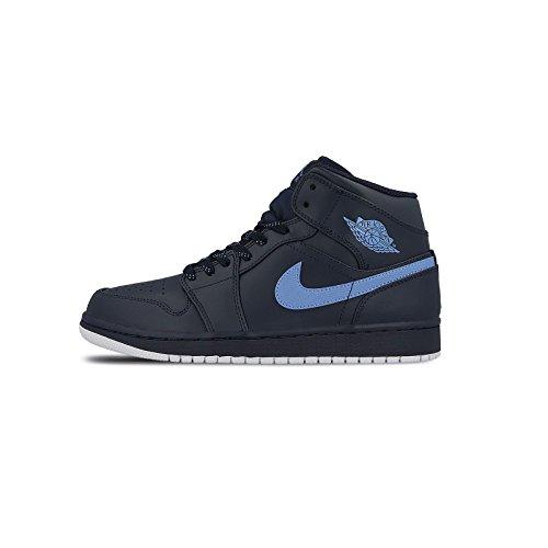 Nike Herren Air Jordan 1 Mid Basketballschuhe, Mehrfarbig (Obsidian/University Blau/Weiss), 44.5 EU