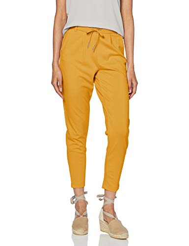 Pantalones amarillos de tela con cordón para mujer