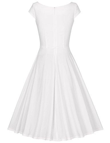 MUXXN Damen Retro 50s 60s Hahnentritt Party Swing Kleid White