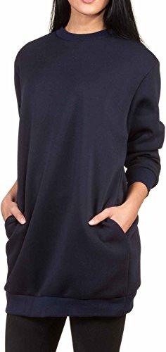 Oversize Pullover Sweatshirt Damen Sweater - Viele Farben - Pulli Hipster Longshirt Oversized Shirt (S/M, Navy)