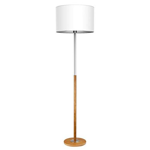 Tomons Lámpara de suelo, Lámpara de Pie Lámpara vertical en Acero, Pantalla Clásica Simple, Sala de estar, Dormitorio, con base en madera marrón
