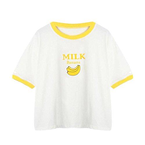 TUDUZ Damen Sommer Bananen Druck Kurzarm O-Ausschnitt Loose T-Shirt Tops Bluse Crop Tops Oberteile (Für Banane Frauen Kleid)
