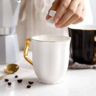 LOYWT großes Volumen Gold Cup, Bone China Keramik, Becher Cup, Kaffeetasse, Milch Teetasse und Flower Cup, Weiß Gold Bone China