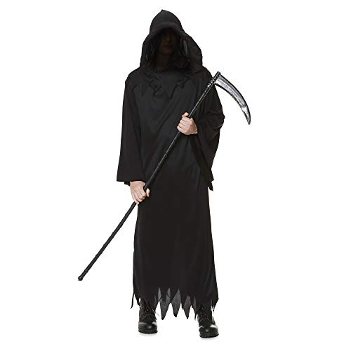 Karnival Costumes- Halloween Grim Reaper Disfraz, Color negro, extra-large (84189)