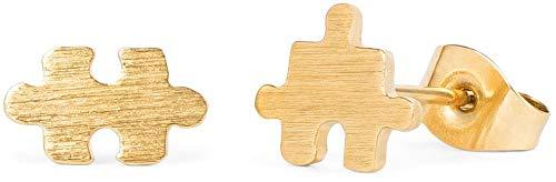 styleBREAKER Damen Edelstahl Ohrringe in Puzzle Teil Form, Ohrstecker, Ohrschmuck 05090008, Farbe:Gold