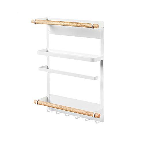 ZAY Papierhandtuchhalter Küchenregal Kühlschrank magnetisch Organizer rostfrei Gewürzgläser Rack Heavy Duty Kühlschrank Regal Aufbewahrung mit 6 Haken weiß - Heavy-duty Kühlschrank