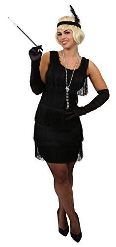 Gefälschte Perlenkette - ILOVEFANCYDRESS Schwarze Flapper Kleid MIT FRANSEN