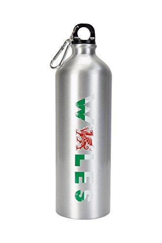 Mountain Warehouse Metall-Flasche mit Karabiner - Aufdruck Wales, 1-Liter-Trinkflasche, robuster Karabiner - Zubehör für Rucksacktouren, Camping, Pendeln, Wandern Silber -